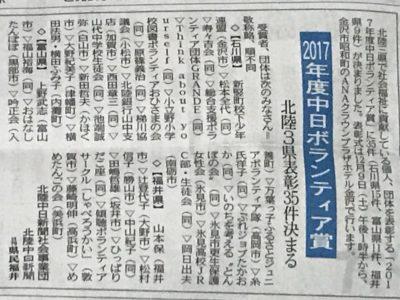 2017年度中日新聞ボランティア賞受賞が発表されました。